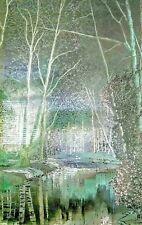 Vintage Fine Art Framed Metallic Foil Print Signed Landscape Etching 24 x 18