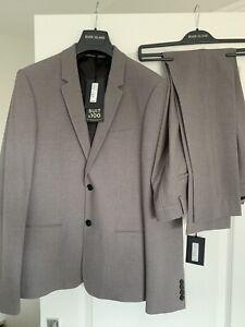 Mens River Island Grey Skinny 2 Piece Suit BNWT