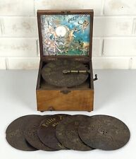 "Rare Antique Polyphon 6.5"" Disc Music Player - Working + Six Discs c.1900"