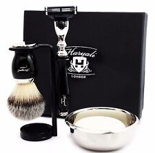 Black 5 Piece Shaving Set | Gillette Mach3 & Synthetic Brush | Men's Gift Kit