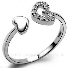 925 Sterling Silver Plated DIAMANTE HEARTS RING Thumb/ Wrap Ring ADJUSTABLE Gift