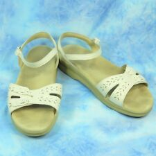 SAS Duo Womens 11.5 WW Extra Wide Tripad Comfort Sandals White Leather Shoes