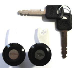 NEW PAIR FORD BLACK DOOR LOCK KEYED CYLINDER W/2 OEM FORD LOGO KEYS TO MATCH