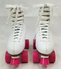 Chicago Classic Roller Skates 301 White w/ Pink wheels front stopper Ladies Us 8