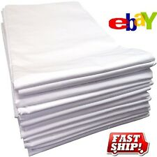 12 NEW WHITE T180 TWIN BED FLAT SHEET 66X104 HOTEL MOTEL RESORT SPA PERCALE