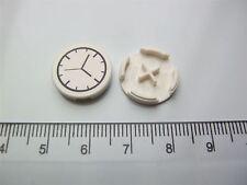 2 x Lego white round watch (2x2 flat tile) (clock) - 6052201 (Parts & Pieces)
