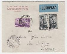 """STORIA POSTALE 1951 TRIESTE """"A"""" L.60 SU BUSTA EX DIRETTA VICENZA Z/6584"""