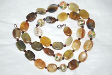 CHINESE ANTIQUE JADE, HAND PAINTED BEADS NECKLACE 925 CLASP, 30""