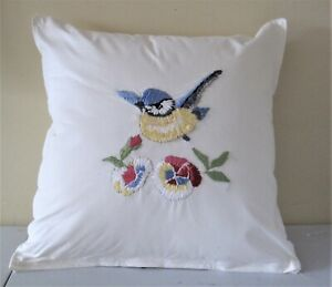 """hand embroidered cushion cover and cushion measuring 12"""" x 12"""""""