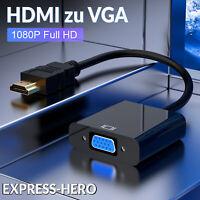 HDMI zu VGA Adapter FULL HD 1080p Konverter VGA Buchse Videokabel PC Laptop AV