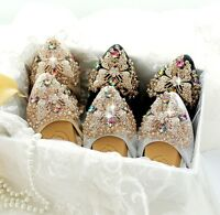 New Women Crystal Bow tie Pointy Tote Flats Soft Ballet Shoes Big Size AU3.5-11