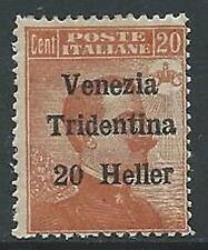 1918 TRENTINO ALTO ADIGE EFFIGIE 20 HELLER MNH ** - P12-3