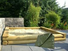 Sandkasten Buddelkasten Sandkiste 200x200 cm aus Ø12 cm Rundholz mit Abdeckplane