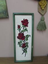 """Vintage Floral Roses Needlepoint Hand Made Stitched 6"""" x 18"""" - 7"""" x 19"""" Framed"""