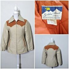 Golden Fleece 1970's Jacket Women's s Orange Leather Yoke inv#S8148