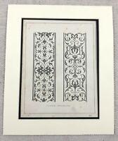 1859 Print Renaissance Architecture Stone Ornamental Pilaster Original Antique