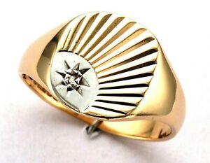 Vintage - Mens 9ct Gold Rose Diamond Sunburst Engraved Signet Ring c B'ham 1973