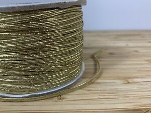 Thin Gold Elastic. 3mm For Gifts Presents Christmas Tags Cakes SOLD PER 3 METER