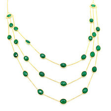 Natural Green Onyx Three Layer Statement Necklace Gold Plated Sterling Silver