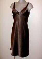 Süßes glänzend braunes Stretch Satin Glanz Kleid Gr 36 von Orsay V51