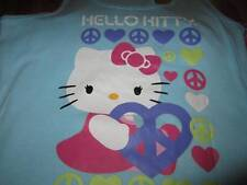 Blue HELLO KITTY Peace 2 Piece Pajamas Medium Summer Short Set Tank Top  NEW