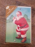Boxed Set 16 CHRISTMAS Cards Classic Santa Claus Playing Golf Holiday Greeting