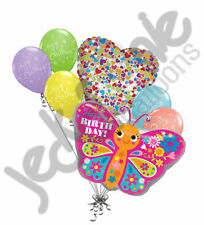 7 pc Colorful Pink Happy Birthday Butterfly Balloon Bouquet Party Decor Spring