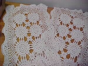 Vintage Crocheted Table Runner Scarf Ivory Cream Off White 68 In L x 12 in