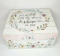 Floral & White Grow Wild X-Large Keepsake Box 16x14x8 Lid & Closure Storage