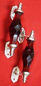 "Vintage Style Crystal Door Handle With Brass Bracket Victorian Design 5.5"" BM58"