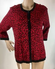 Chicos 2 Women's Large Red Black Cheetah Print Button Down Cardigan Sweater