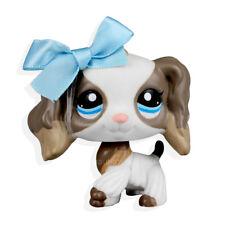 #2254 Rare Littlest Pet Shop White Tan Cocker Spaniel Dog LPS Blue Bowknot Toy