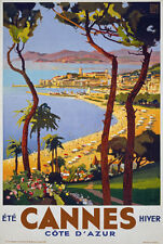 TX02 Vintage 1930's Cannes Cote D'Azur French Travel Poster Re-Print A1/A2/A3
