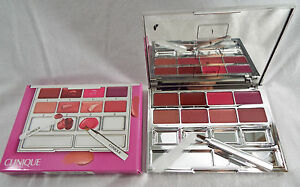 Clinique Pretty Easy Lip Palette 8 Colors Brush Spatula Mirrored Compact NIB