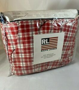 RALPH LAUREN Plaid Red White Twin Ruffled Bed Skirt Country Cottagecore