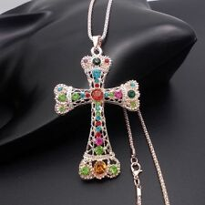 Fashion Golden Cross pendant sweater chain mosaic crystal long necklace XL39