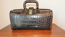 Vtg. Upjohn Brown Leather Moc Croc Genuine Cowhide Doctors Medical Bag