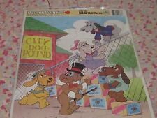 Vintage 1986 Pound Puppies Escaping over fence childrens puzzle frame tray dogs