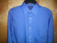 NWT NEW mens blue CROFT & BARROW l/s non iron cotton dress shirt free shipping