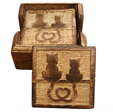 Set of 6 Rustic Hand Carved Cat Mango Wood Wooden Drinks Coasters Cradle Gift