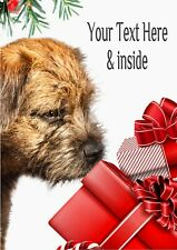 Personalised Border Terrier Christmas Card with illustrated insert  A5 size