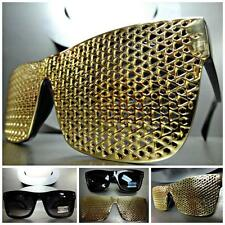 Men Women VINTAGE RETRO Style SUN GLASSES Black Frame Detachable Gold Mesh Cover