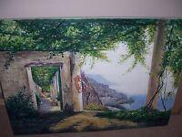 Amalfi Coast Italy Oil Painting 30x20 canvas Lake Como Garda Italy Framing avail