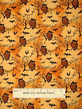 Springs Owls Branches Bats Halloween Harvest Autumn 46809 Cotton Fabric YARD