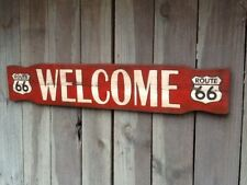 Vintage Look Route 66 Welcome Hand Painted Wooden Sign - Rt 66