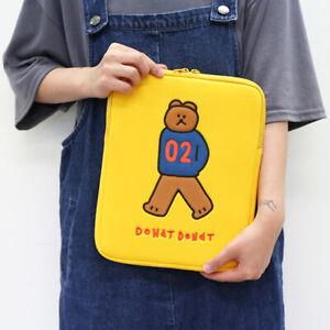"11"" DONATDONAT Bear Yellow Tablet ipad Padded Pouch Sleeve Bag Pen Holder Pocket"