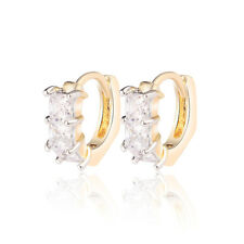 18 k Gold Plated Baby Girl Christening Gift Zircon Hoops First Earrings E1248