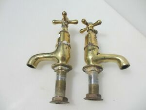 "Antique Brass Taps Porcelain Caps Victorian Vintage Old Sink Basin Bath ""Shanks"""
