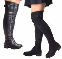 Womens Black Chunky Heel Suede Stretch Wide Calf Fit Over The Knee High Boots