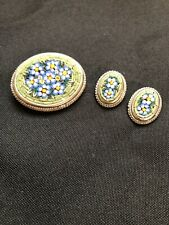 Vintage Silver Tone Floral Inlaid Pin Brooch & Matching Clip Earrings
